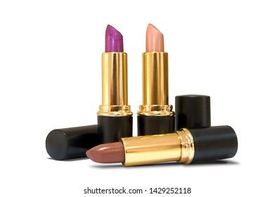 Open lipstics isolated on white background