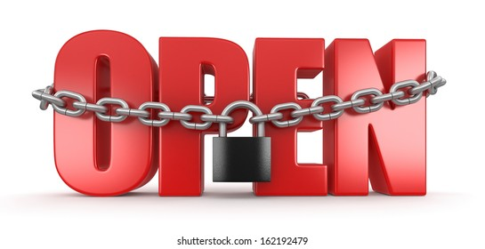 open and lock (clipping path included)