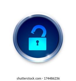 Open lock icon on metal blue button.  Raster version.