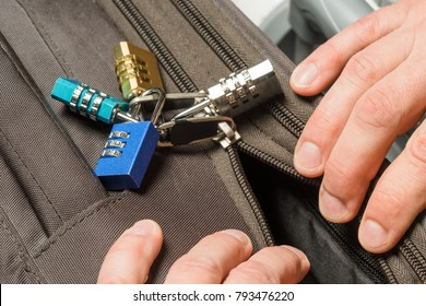 Open a locked suitcase zipper with a ballpoint pen