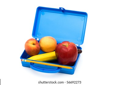 Open Lunch box with a bunch of fruit, Healthy School Lunch