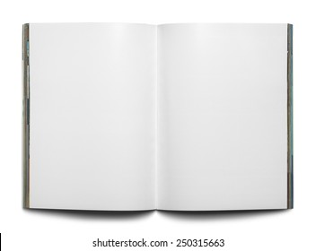 Open Magazine with Copy Space Isolated on White Background.