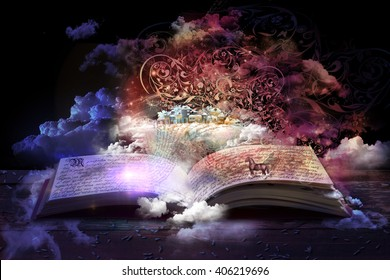 open magic book, stories and educational stories floating