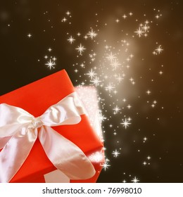 Open Magic Gift Box with Glittering Sparkles