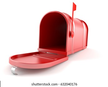 Open mailbox isolated on white background. 3d illustration