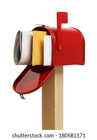 Open Mailbox with Mail Inside Isolated on White Background.