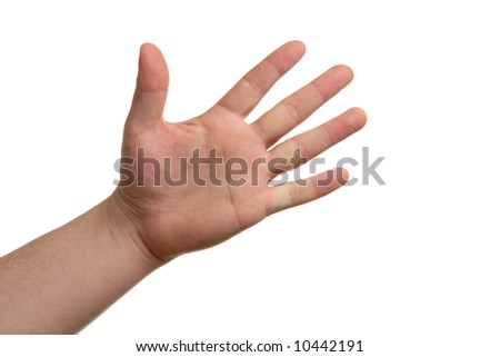 An open male hand, isolated on a white background.