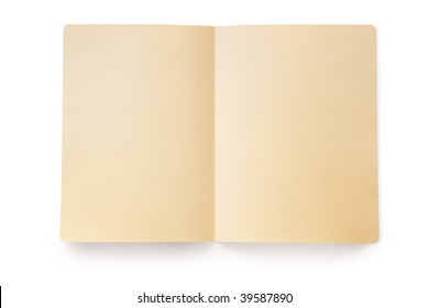 Open manila folder, casting shadow over white.  Clipping path included.