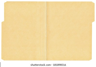 Open manila folder isolated on a white background.