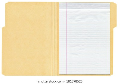 Open manila folder with a white lined writing pad inside shown isolated on a white background.