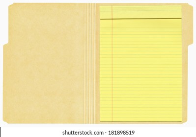Open manila folder with a yellow legal pad inside shown isolated on a white background.