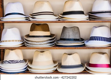 Open market stall with summer straw hats in Sozopol, Bulgaria