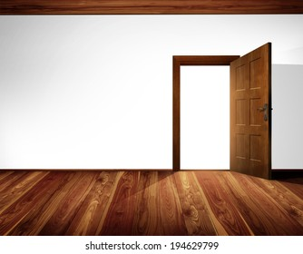 Open massive wooden door with architectural element - barrel vault; white wall with decorative white timber ceiling construction