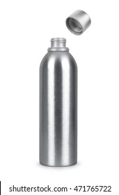 open metal bottle isolated on white background
