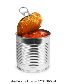 Open metal cans with beans in tomato sauce on white background