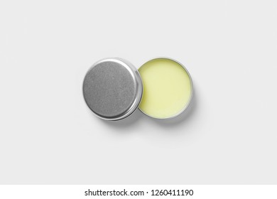 Open metal cosmetic round tin can mockup. Jar.High resolution photo.Top view.