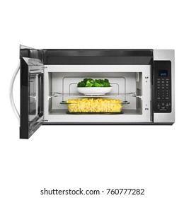 Open Microwave Oven Isolated on White Background. Front View of Stainless Steel Over-the-Range Microwave Oven with Food. Kitchen Appliances. Domestic Appliances. Clipping Path