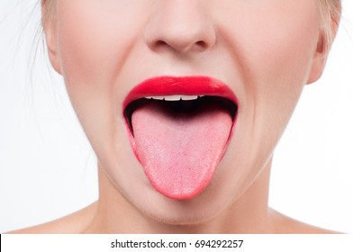 Open mouth,  female tongue and red painted lips