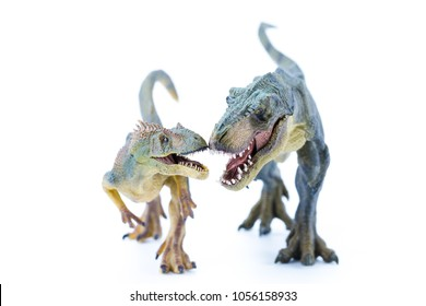 Open mouth with teeth Green Long Running T Rex fighting against Allosaurus - Realistic Dinosaur Replica toy - front super macro view