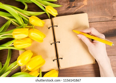 Open notbook with female hands holding yellow pen with yellow tulips, Woman's day or Mother's day concept