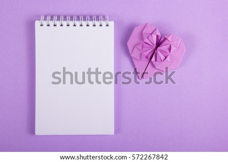 Open Notebook Blank Page Origami Heart Stock Photo Edit Now