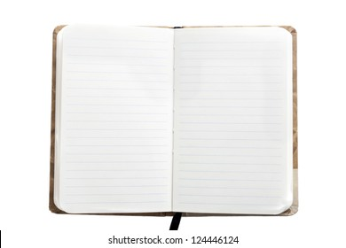 Open notebook with bookmark, isolated on white