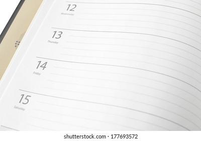 Open notebook  with calendar date