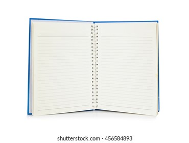 Open notebook with empty white page, brown note book isolated on white
