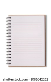 Open notebook isolated on white background.With clipping path and no shadow.