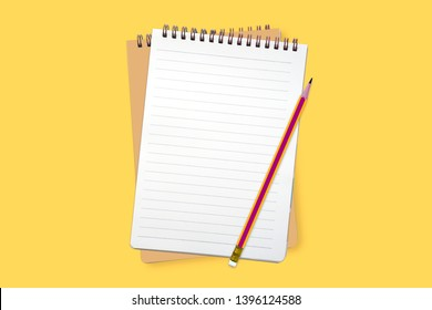 Offenes Notizbuch auf gewelltem gelbem Hintergrund mit Draufsicht auf dem Bleistift - Spiral-Notizblock mit unscharfem Blatt - flacher Lauf
