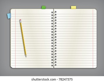 A open notebook with paperand pencil