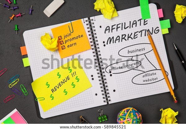 Open notepad with affiliate marketing sketch
