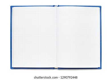 Open Notepad with clean sheets isolated on white background. Notebook with checkered paper , copy space, top view
