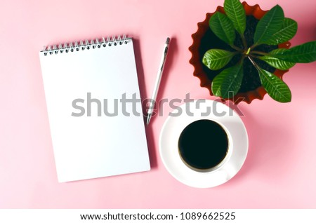 Open Notepad Paper Cactus Flower Pen Stock Photo Edit Now