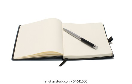 Open notepad and pen isolated on white background.