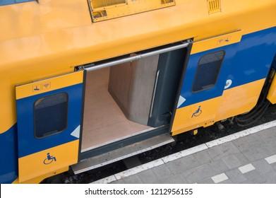 Open NS Train Door At Den Haag The Netherlands 2018