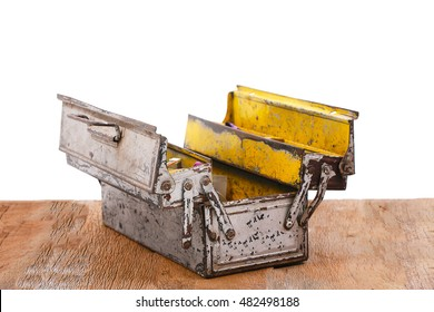 open old aluminium tool box on table isolated on a white background