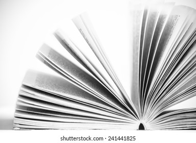 Open the old book with black and white color