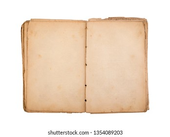Open old book with blank yellow stained pages isolated on white background with clipping path