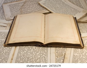 The open old  book with empty pages on a old book pages