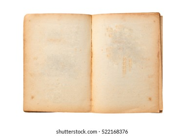 Open old book isolated on white background