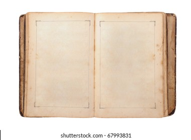 Open old book. Isolated on white background