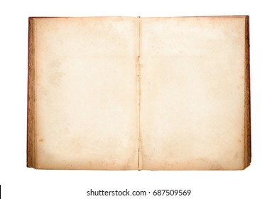 Open old book isolated on white background.
