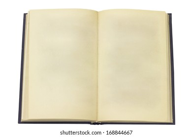 Open old book. Page without the text. Isolated on white background