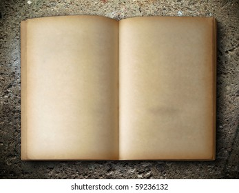 open old book two face on rock background