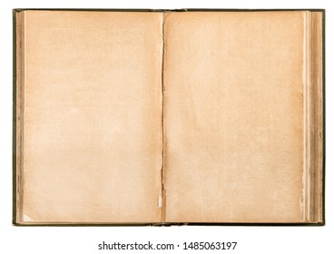 Open old book used paper isolated on white background