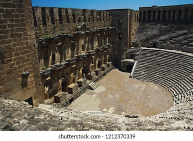 Open old circle theater Aspendos in Antalya, archeology background. Constructed by Greece architect Eenon during time of Mark Aurelius