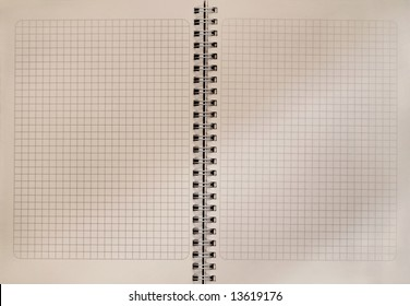 The open old exercise book squared