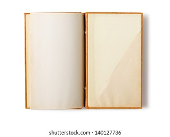 Open old notebook on white background