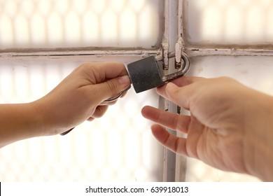 Open old padlock on security door